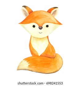 Watercolor illustration, hand drawn. Isolated image of woodland animal, cute little red fox. For season design, autumn and winter, for kids wear textile fabric prints, for baby shower, birthday, etc.