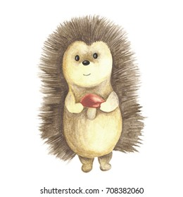 Watercolor illustration, hand drawn. Isolated image of woodland animal, cute little hedgehog. For season design, autumn and winter, for kids wear textile fabric prints, for baby shower, birthday, etc.