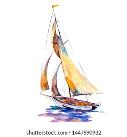 Watercolor illustration, hand drawn sailboat isolated object on white background. Art print boat with yellow sails.