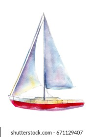 Watercolor illustration, hand drawn sailboat isolated object on white background.