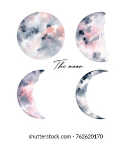Watercolor illustration. Hand drawn set on a white background. The moon, the planet in different phases
