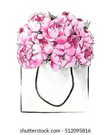Watercolor illustration of hand painted peonies in package