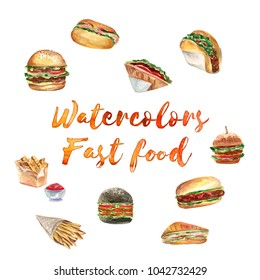 Watercolor Illustration of Hand-drawn Set Delicious Fast Food Meal, Realistic Illustration Isolated on White Background