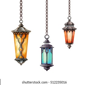 watercolor illustration, hanging oriental lanterns, isolated on white background, clip art