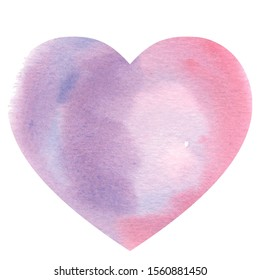 watercolor illustration, heart, symbol of love and valentines day, pink, purple, red colors