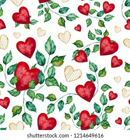Watercolor illustration with hearts to the St. Valentines day. Seamless pattern with a lot of leaves and red, yellow hearts on a white background. Image for packaging design
