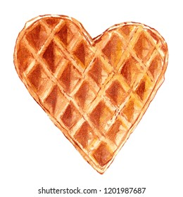 Watercolor illustration of a heart-shaped waffle isolated on a white background and hand-drawn. To create designs, design the menu of cafes and restaurants