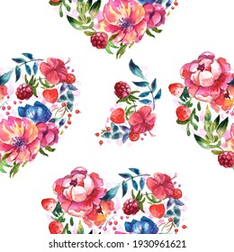 Watercolor illustration. Heart-shaped wreath of flowers and berries. Can be used as a postcard, cover background, or for a web message