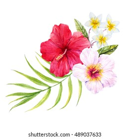 watercolor illustration of hibiscus, palm leaves, white plumeria, tropical bouquet on a white background