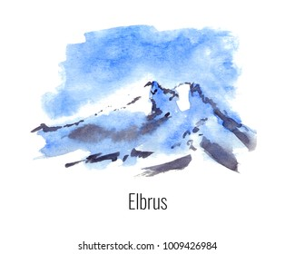 Watercolor illustration of the highest mountains - Elbrus
