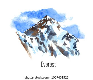 Watercolor illustration of the highest mountains - Everest