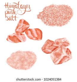 watercolor illustration of Himalayan pink salt set - piles of coarse and fine grinding and stones  isolated on white background