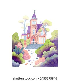 Watercolor illustration of house. Sweet home in flowers, an illustration for postcards, magnet and other souvenirs.