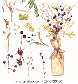Watercolor illustration of ikebana from berries and branches
