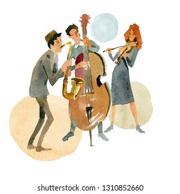 Watercolor illustration. Instrumental jazz trio consisting of double bass, violin and saxophone