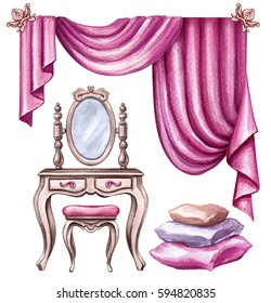 watercolor illustration, interior design elements, window curtain, drapery, mirror, chair, pillows, boudoir furniture, clip art isolated on white background