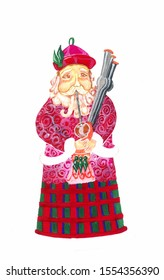 watercolor illustration of Irish Santa Claus playing bagpipes, which he holds in hands in traditional clothes in tartan cloth with geometric pattern in red and green check on white isolated