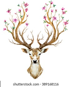 watercolor illustration isolated deer, big antlers, horns flowers on branches cherry flowering plant