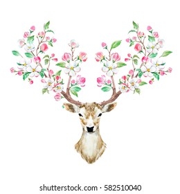 watercolor illustration isolated deer. big antlers.  branches cherry flowering plant