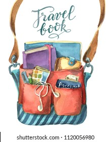 Watercolor illustration isolated on white background.  The colorful shoulder bag full of different travel things such as book, notebook, headphone, pen, pencil, wallet
