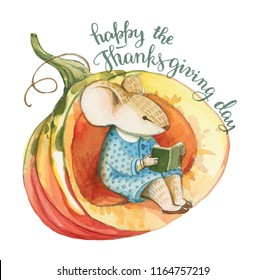Watercolor illustration is isolated on white background. Little gray mouse in blue dress sits in the red pumpkin and reads a book