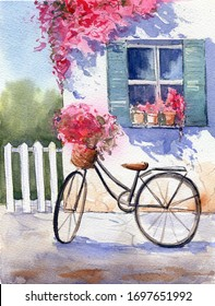 Watercolor illustration Italian courtyard with bike and flowers