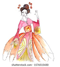 watercolor illustration to japanese fairy tales kitsune - fox - werewolf