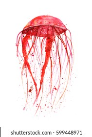 Watercolor illustration with jellyfish, purple colors with paint blots.