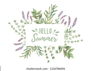 Watercolor illustration. Label with botanical green leaves, herbs and branches. Floral Design elements. Perfect for wedding invitations, greeting cards, blogs, prints, postcards