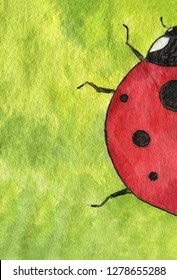 Watercolor illustration. Ladybug (Coccinellidae) on bright green and yellow background.