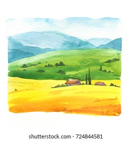 Watercolor illustration with landscape field. Nature background. Organic farms. Eco growing. Agriculture