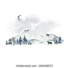 Watercolor illustration. Landscape with mountains, trees, clouds, wolf and moon