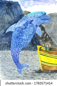 watercolor illustration of a large blue Dolphin jumping out of the water in front of a huge yellow boat with astonished people watching it on the background of mountains, sky and nature