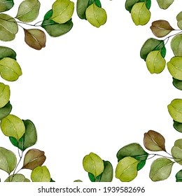 Watercolor illustration of a leafy wreath. Bright greenery round frame hand drawn in watercolor. Template for wedding invitation, greeting card, background.
