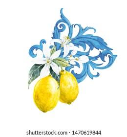 Watercolor illustration of lemon and lemon flower, blue baroque ornament
