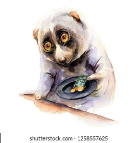 Watercolor illustration of a lemur lory with a hat asking for money. Hand-drawn illustration with a beggar.