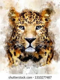 Watercolor illustration leopard portrait. Beautiful wildlife world