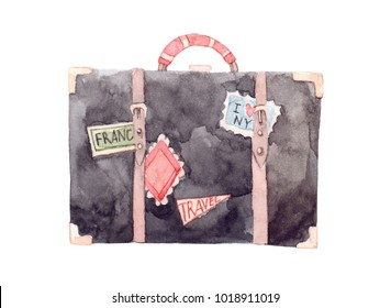 Watercolor illustration - Let's go travel. Fashion suitcase with stickers. Trip to World. Perfect for invitations, greeting cards, prints, flyers, posters etc