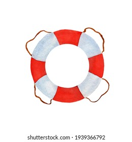 Watercolor illustration of a lifebuoy. Isolated on a white background.