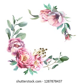 Watercolor illustration of light pink flowers and green leaves. Round frame of peony and blosom flowers isolate in white background. Floral element for wedding and invitation cards, for valentine