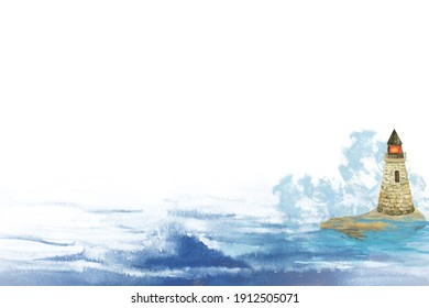 Watercolor illustration of a lighthouse standing on a rock in the sea or ocean among the waves.
