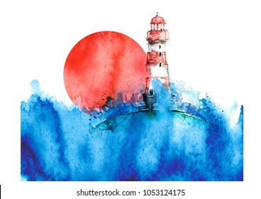 Watercolor illustration of lighthouse. Storm on the sea, clouds, dews, storm, hurricane, Red sun, sunset. A splash of blue paint. Art illustration, postcard Beautiful tower.
