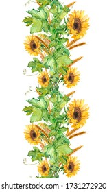 Watercolor illustration. Line shaped seamless pattern. Seamless border of sunflowers, wheat and vines.