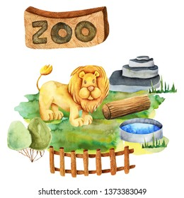 Watercolor illustration of a lion at the zoo, isolated scene hand drawn on a white background
