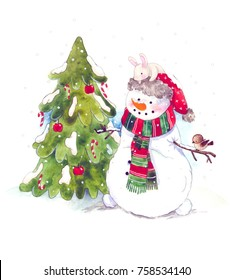 Watercolor illustration with little bunny, bird, tree and snowman. Christmas child illustration. Happy new Year.