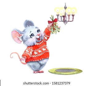 Watercolor illustration of a little cute mouse wearing a christmas red sweater and holding a sprig of a mistletoe. Hand drawn character art work, isolated on white background. Merry Xmas