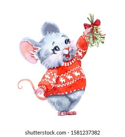 Watercolor illustration of a little cute mouse wearing a christmas red sweater and holding a sprig of a mistletoe. Character art work, hand drawn. Traditional painting for New Year greetings.