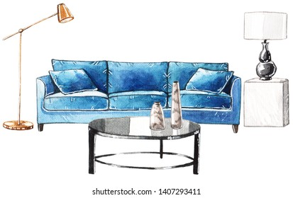 Watercolor illustration of the living room interior with blue sofa, black coffee table, vases and lamps.