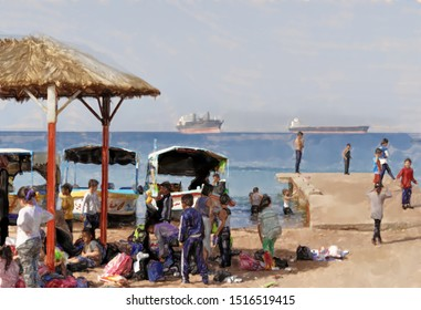 watercolor illustration: Local school class at a landing stage on the Gulf of Aqaba preparing for a boat trip on the sea, Jordan
