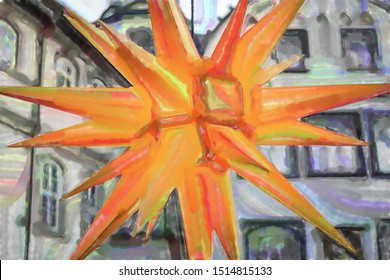 watercolor illustration: Luminous yellow Christmas star, close-up view in front of a grey building facade